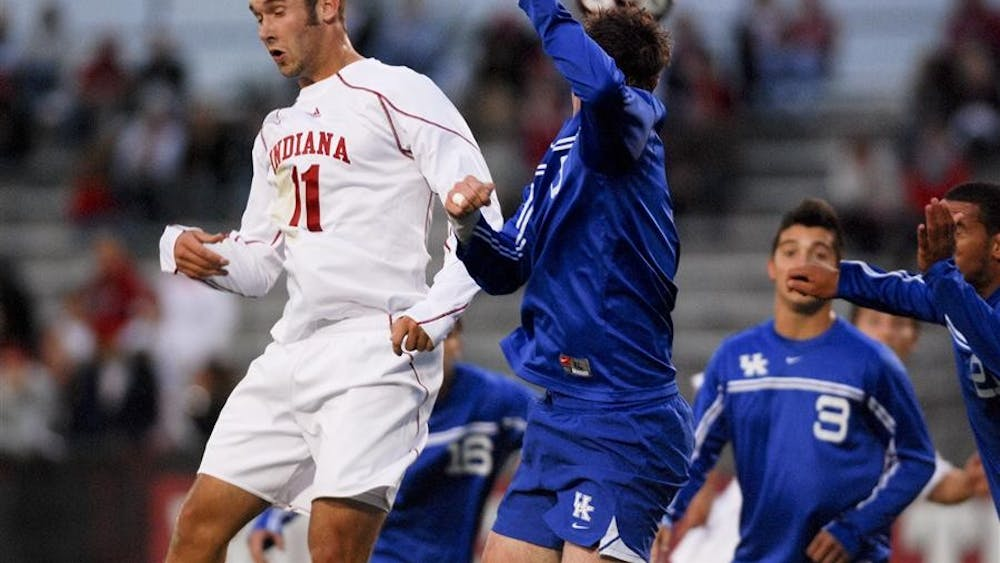 Sophomore forward Will Bruin battles Kentucky's Brad Walker for a header near the Kentucky goal Tuesday, Sept. 29 at Bill Armstrong Stadium. The Hoosiers won 3-0 and will take on the Fighting Irish today in South Bend.