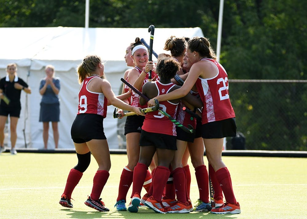 <p>IU celebrates after redshirt senior defender Elle Hempt scores a goal against Maryland on Friday afternoon at the IU Field Hockey Complex. IU lost to Maryland, 3-1, to fall to 4-3 on the season.</p>