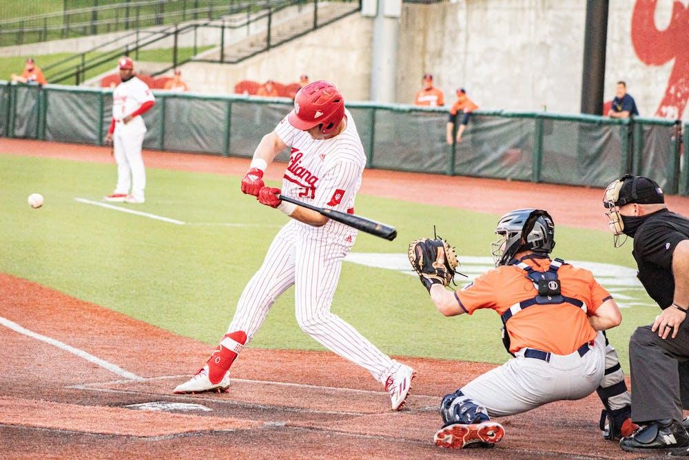<p>Redshirt senior infielder Jordan Fucci swings the ball Saturday at Bart Kaufman Field. The Hoosiers beat Illinois twice this weekend. </p>