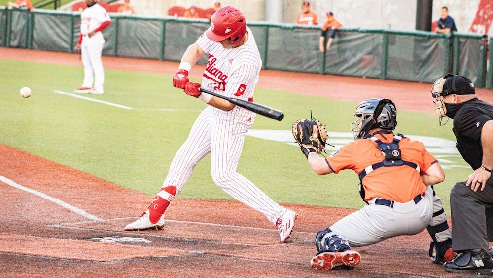 Redshirt senior infielder Jordan Fucci swings the ball Saturday at Bart Kaufman Field. The Hoosiers beat Illinois twice this weekend.