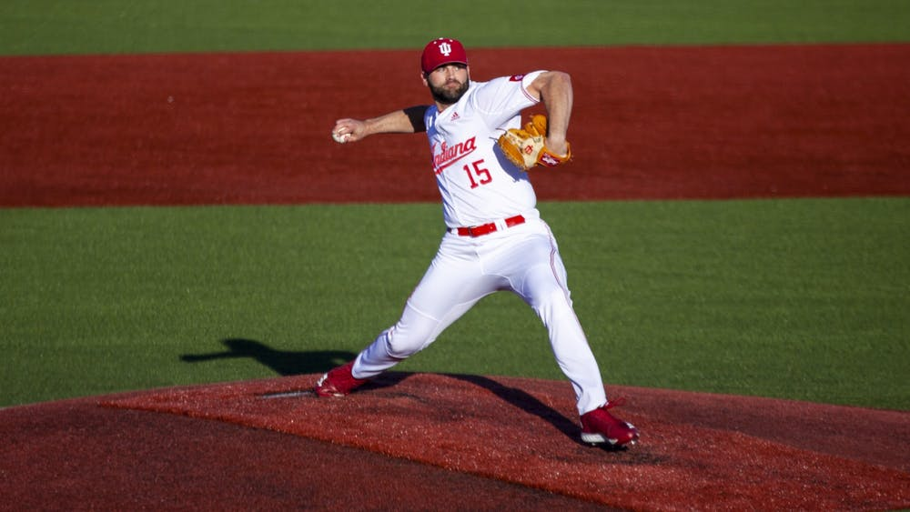 Then-junior Pauly Milto pitches the ball March 22, 2019, at Bart Kaufman Field. IU defeated all three opponents in the South Alabama Invitational Feb. 21-23 in Mobile, Alabama.