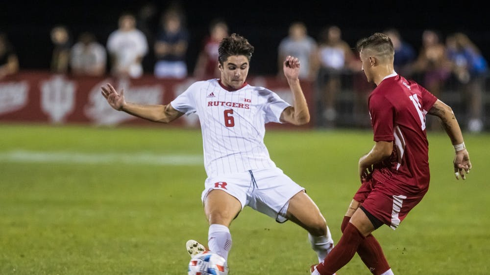 Senior defender Nyk Sessock passes the ball Sept. 17, 2021, at Bill Armstrong Stadium. Penn State scored an own goal off a cross into the 18-yard box from Sessock, giving Indiana a 1-0 win Sunday.