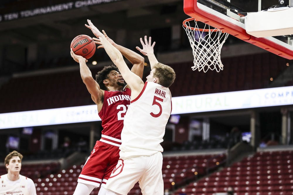 <p>Redshirt sophomore forward Jerome Hunter shoots the ball Jan. 7 at the Kohl Center in Madison, Wisconsin. Hunter scored 12 points against Wisconsin. </p>