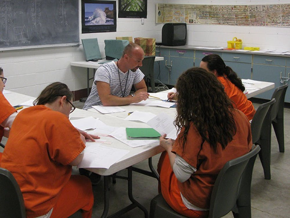 Chris Harmon, a volunteer workshop instructor at New Leaf - New Life, leads a reentry workshop inside the Monroe County Correctional Center. New Leaf – New Life is a nonprofit who supports people incarcerated and recently released from the Monroe County jail.