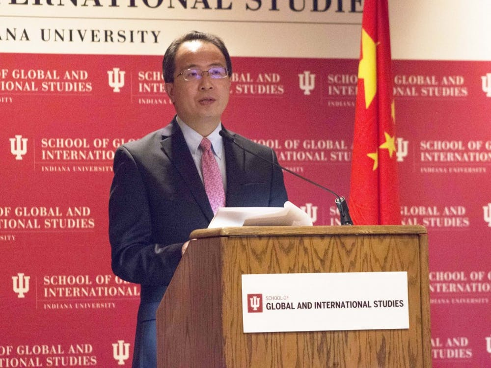 Hong Lei, the consul general of the People's Republic of China in Chicago, gives a speech on China's recent advances and the relationship between China and the United States on Monday afternoon in the IU Auditorium. Lei spent the day on IU's campus meeting with students and faculty.