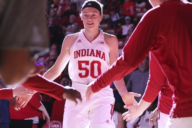 Junior forward Brenna Wise walks out Jan. 16 during introductions prior to the women's basketball game between Indiana and Northwestern. IU lost to Northwestern 75-69.