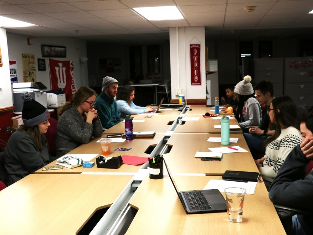 Members of the IU Student Government meet Jan. 21 in the Indiana Memorial Union activities tower.