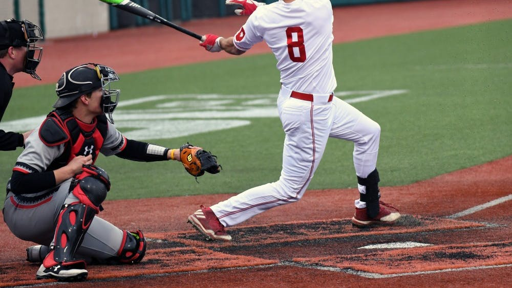 Junior infielder Luke Miller takes a swing against Cincinnati on March 6 at Bart Kaufman Field. Miller hit two home runs Thursday night as IU beat Maryland, 6-5.