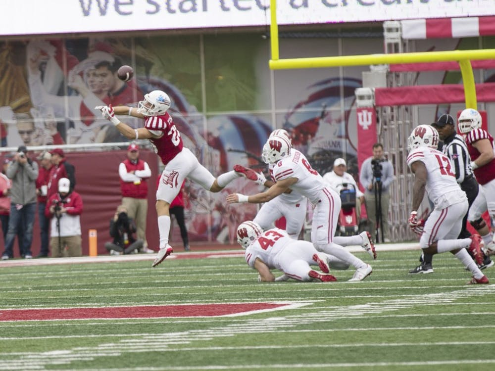 Junior wide receiver Luke Timian is unable to complete a catch at Memorial Stadium on Saturday against No. 9 Wisconsin. IU lost to Wisconsin 45-17 to drop to 3-6 overall, and 0-6 in Big Ten play this season.