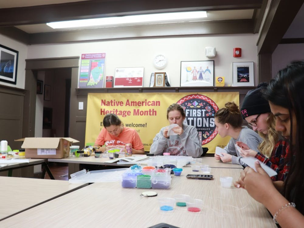 IU students create beaded keychains Nov. 13 in the First Nations Educational and Cultural Center. The keychain workshop was organized to promote Native American Heritage Month.