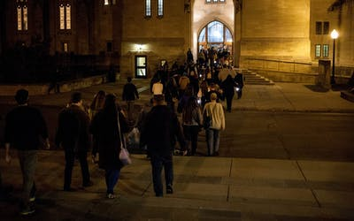 People are led into the Indiana Memorial Union to the second stop on the 2016 Ghost Walk put on by the IU Folklore and Ethnomusicology Student Association. The event is the group's largest fundraiser.