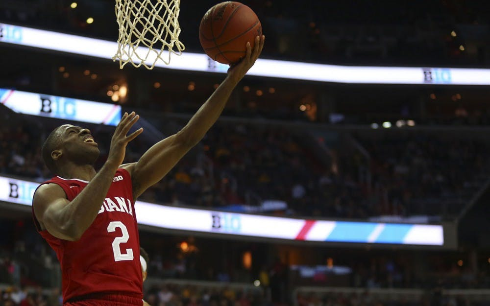 Junior guard Josh Newkirk goes for a layup during IU's first game of the Big 10 Tournament in Washington D.C. Thursday.  The Hoosiers beat the Hawks 95-73.