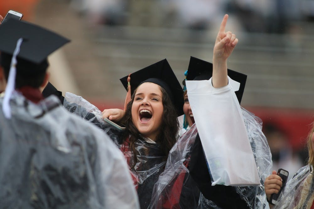 IU graduates shout to their families during the IU graduation ceremony May 4, 2019, at Memorial Stadium. Provost Lauren Robel will speak at the May 8 graduation ceremony.