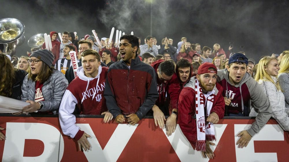 Fans cheer as the IU men's soccer team prepares for kickoff against Notre Dame in the quarterfinals of the NCAA Tournament on Nov. 30 at Bill Armstrong Stadium.