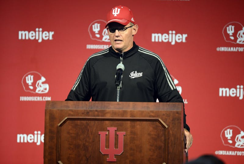 IU Head Coach Tom Allen speaks during football media availability Aug. 17, 2018 in Memorial Stadium. Allen recapped IU's 38-10 victory against Ball State University.