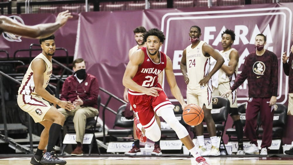 Redshirt sophomore Jerome Hunter during the game against the Florida State Seminoles at the Donald L. Tucker Civic Center in Tallahassee, Florida. IU lost 67-69.