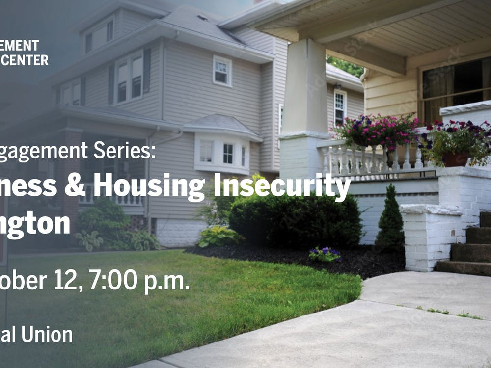 A Student Involvement and Leadership Center graphic presents its Community Engagement Series: Homelessness & Housing Insecurity on Oct. 12, 2021, at the Indiana Memorial Union in Bloomington. As part of a monthly community engagement series, the event will take place at 7 p.m. in the Dogwood Room at the IMU.