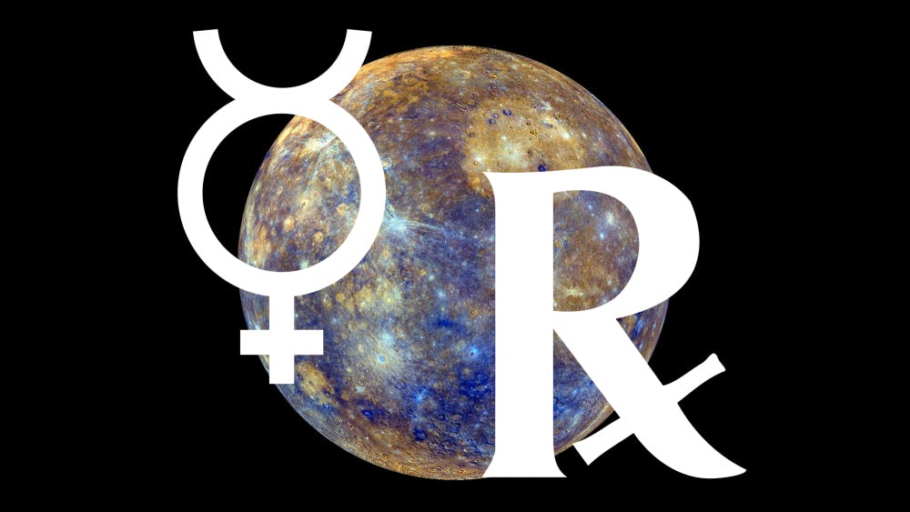 <p>Mercury, the left symbol, retrogrades, or appears to orbit backward, three to four times a year. Mercury will retrograde in Pisces from March 5 to 28.</p>