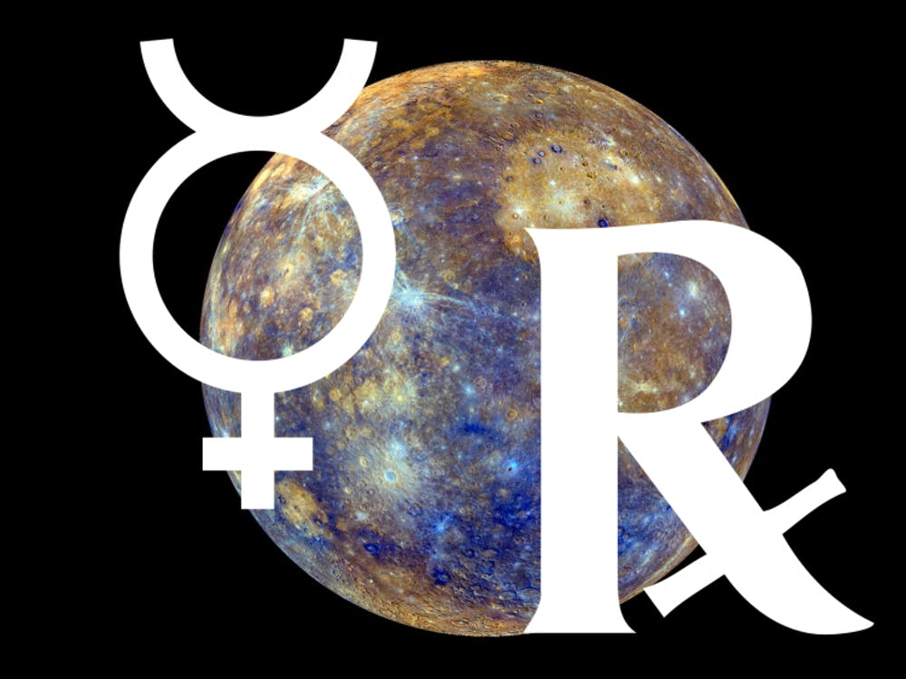 Mercury, the left symbol, retrogrades, or appears to orbit backward, three to four times a year. Mercury will retrograde in Pisces from March 5 to 28.
