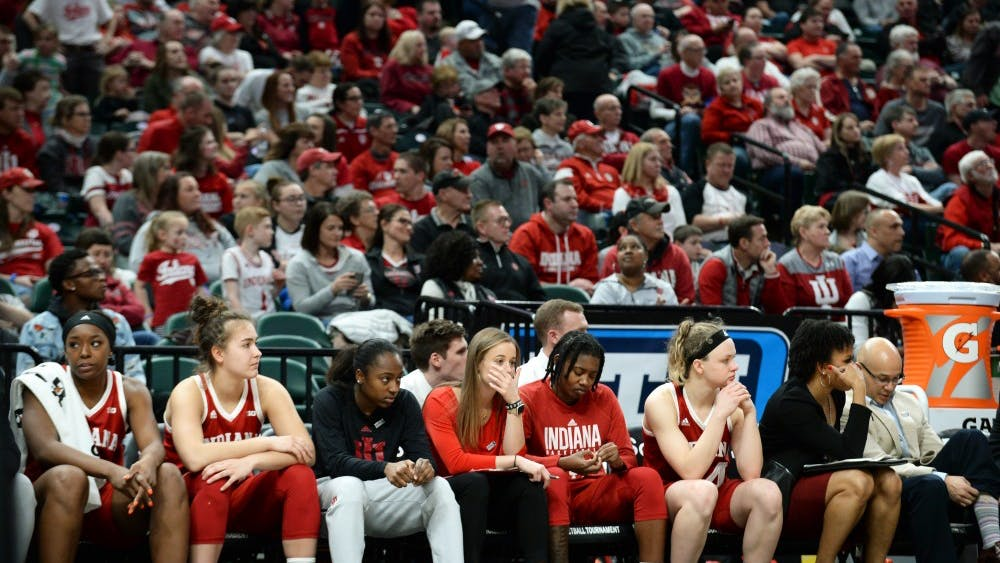 The IU bench looks dejected at the end of IU's third round Big Ten Tournament game against Iowa on March 8 in Bankers Life Fieldhouse. IU lost to Iowa, 70-61.