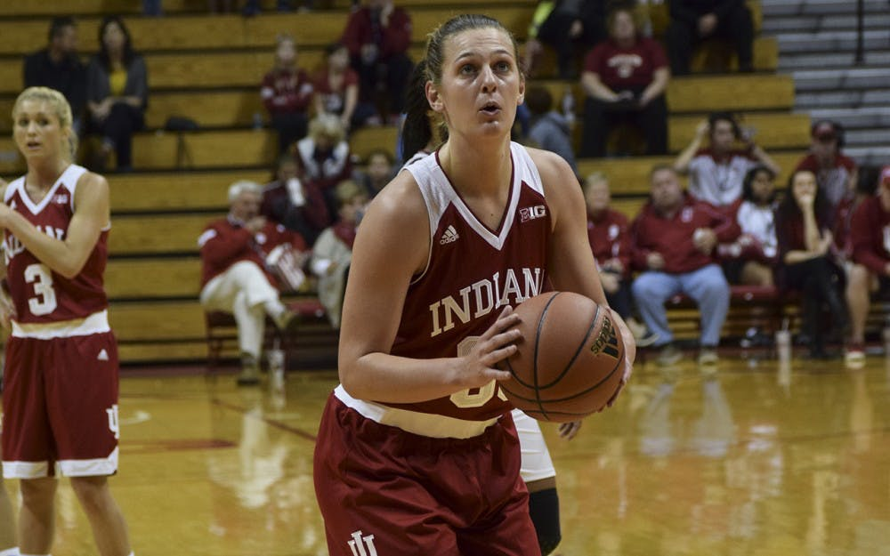 Amanda Cahill attempts a free throw vs. UIndy, Sunday afternoon. IU defeated UIndy 87-58.