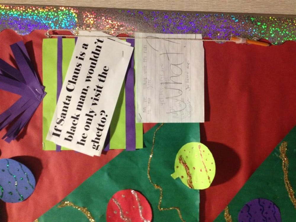 A bulletin board display in the lobby of Foster Harper caused controversy among students returning from Thanksgiving Break on Monday, December 2nd. The display was taken down late that evening.