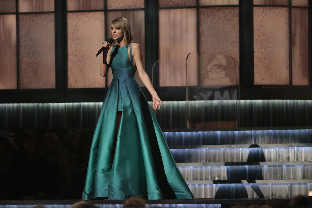<p>Taylor Swift speaks at the 57th Annual Grammy Awards Feb. 8, 2015, at STAPLES Center in Los Angeles.</p>