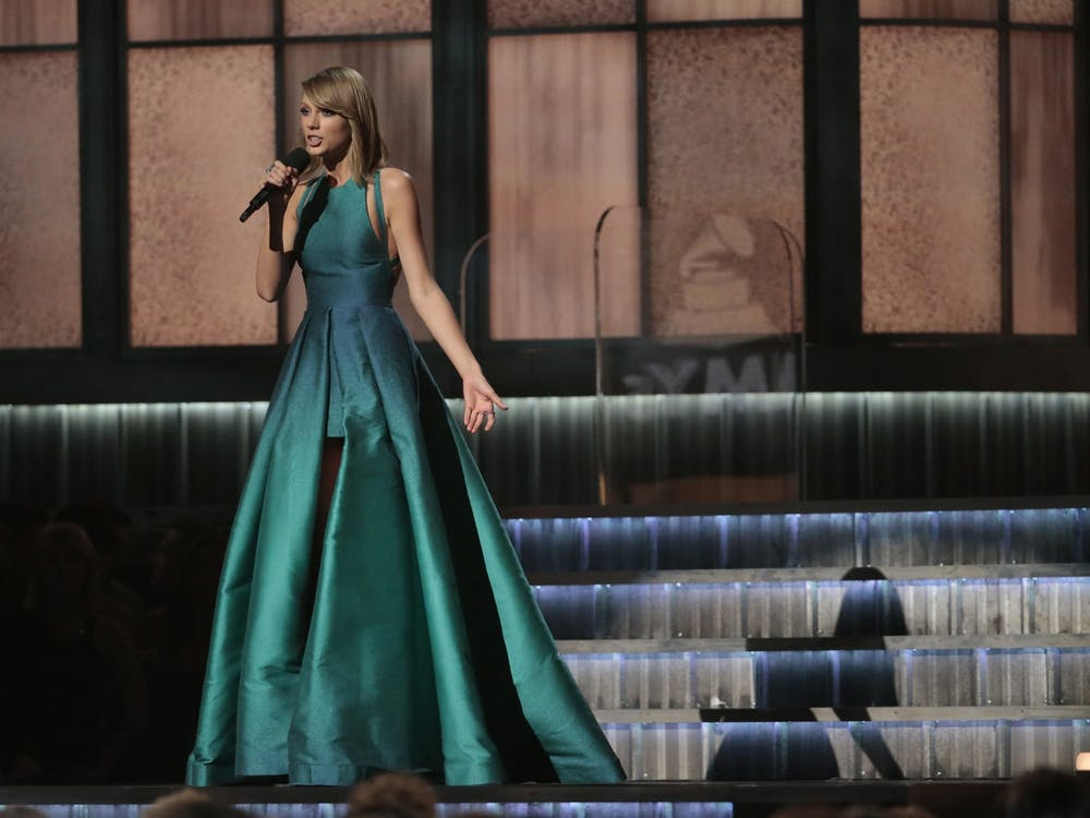 Taylor Swift speaks at the 57th Annual Grammy Awards Feb. 8, 2015, at STAPLES Center in Los Angeles.