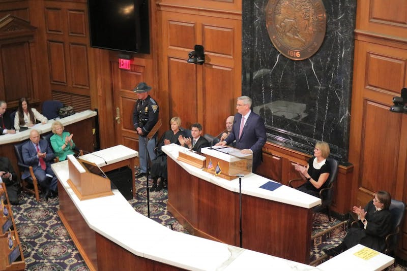 """Gov. Eric Holcomb delivers his third State of the State address to the Indiana General Assembly on Tuesday night. """"This two-part mission – making the lives of Hoosiers better today while building for the future – has been and will remain my administration's focus,"""" Holcomb said."""