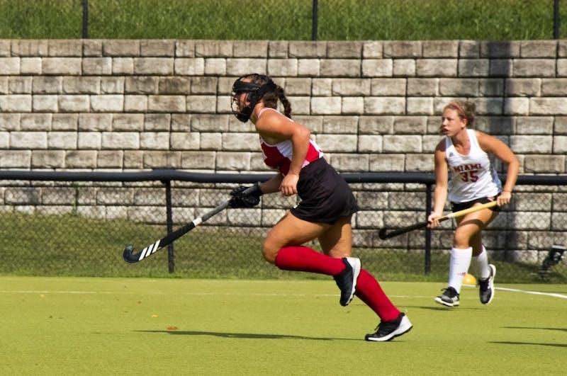 IU midfielder Mary Kate Kesler rushes toward the ball Sept. 7 at IU Field Hockey Complex. IU lost to Ohio University on Sunday.
