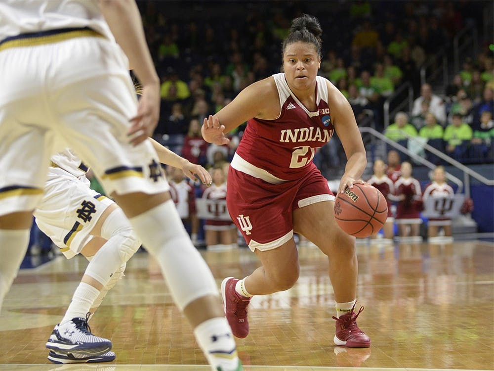 Karlee McBride plays during NCAA Tournament Second Round Monday. IU lost against Notre Dame 70-87.