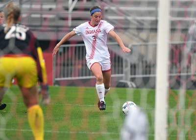 Then-junior forward Abby Allen dribbles the ball against Nebraska on Oct. 15, 2017, at Bill Armstrong Stadium. Allen and the Hoosiers lost to Nebraska and Iowa this weekend to fall to 2-2 in the conference.