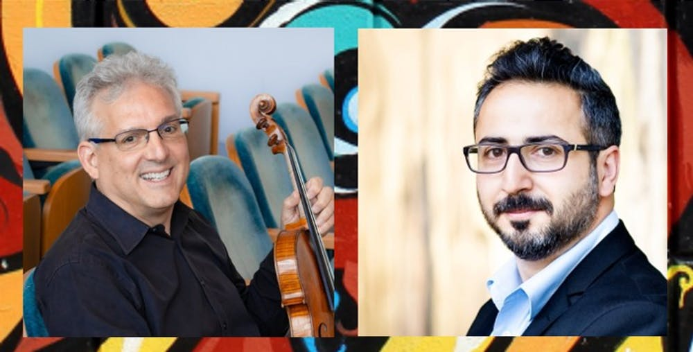<p>Violist Edward Gazouleas, left, and pianist Aram Arakelyan, right, are pictured. The<strong> </strong>Latin American Music Center is presenting a viola concert as part of its Salón Latino Chamber Music series.</p><p></p>