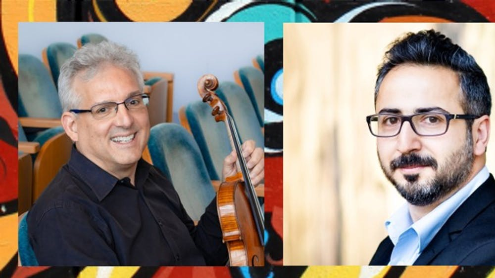 Violist Edward Gazouleas, left, and pianist Aram Arakelyan, right, are pictured. The Latin American Music Center is presenting a viola concert as part of its Salón Latino Chamber Music series.
