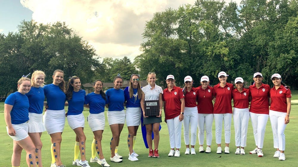 Members of the IU women's golf team pose for a photo Sept. 13 at the Pfau Golf Course.  IU defeated Iowa 4-1 in the East-West Match Play Challenge on Tuesday.