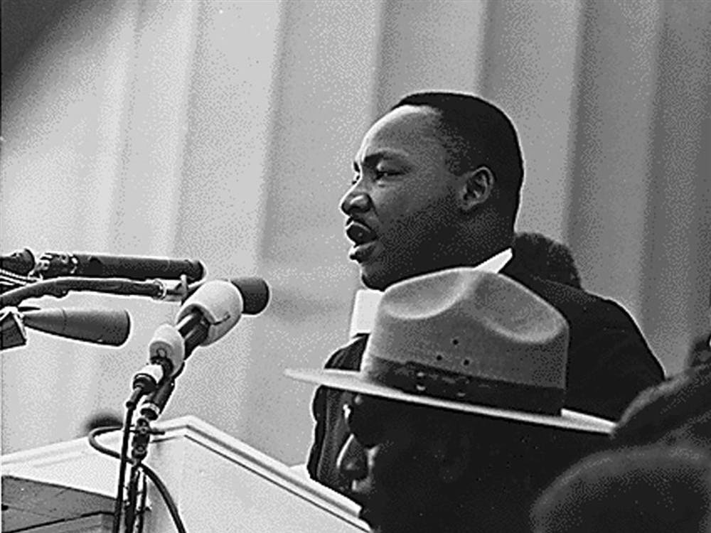 Martin Luther King, Jr. speak during the Civil Rights March on Washington, Aug. 28, 1963.