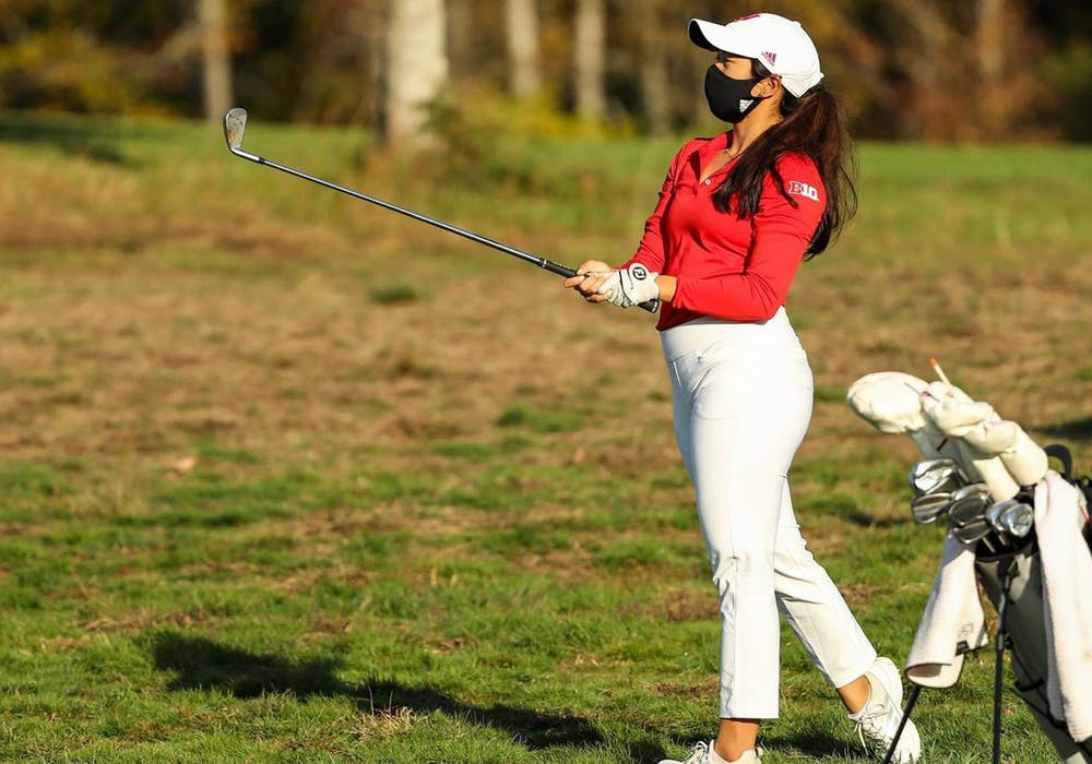 <p>Senior Angela Aung swings her golf club April 4 during the Indiana Spring Challenge at Covered Bridge Golf Club. IU women&#x27;s golf came in fifth place Monday at the Indiana Spring Challenge in Sellersburg, Indiana. </p>