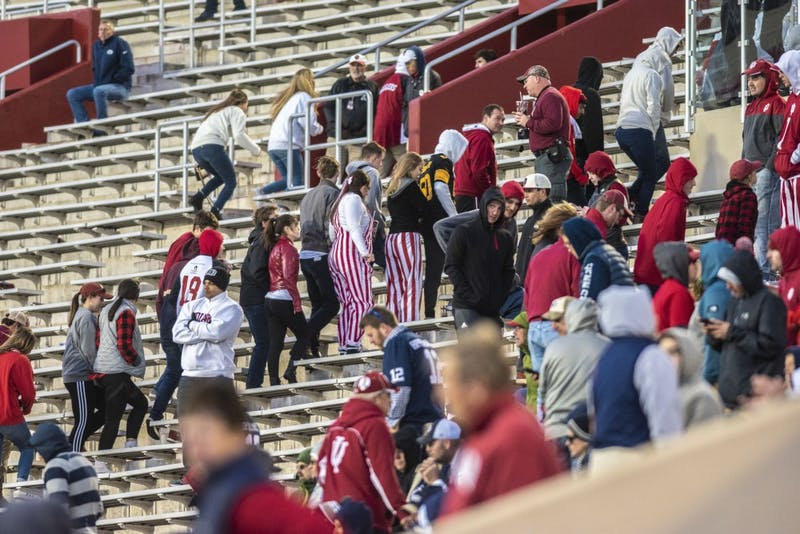 IU fans file out during IU's loss to Penn State on Oct. 20 at Memorial Stadium. A glimpse of hope came at the end of the game for IU when they recovered an onside kick, but they were unable to score before the game ran out of time.