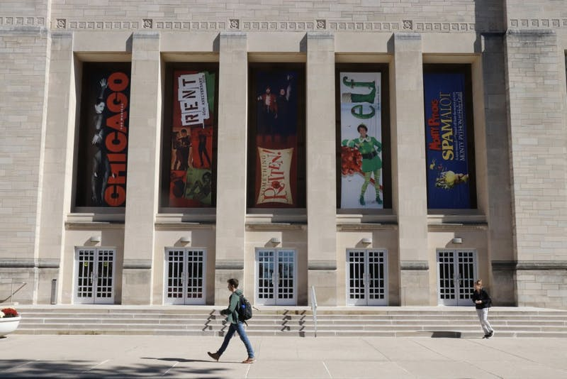 IU Auditorium displays posters for shows IU productions during the 2018-2019 season.