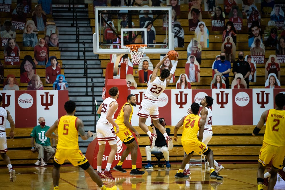 <p>Sophomore forward Trayce Jackson-Davis rebounds the ball Jan. 4 at Simon Skjodt Assembly Hall. The Hoosiers will play Iowa on Jan. 21 at the Carver-Hawkeye Arena in Iowa City, Iowa. </p>