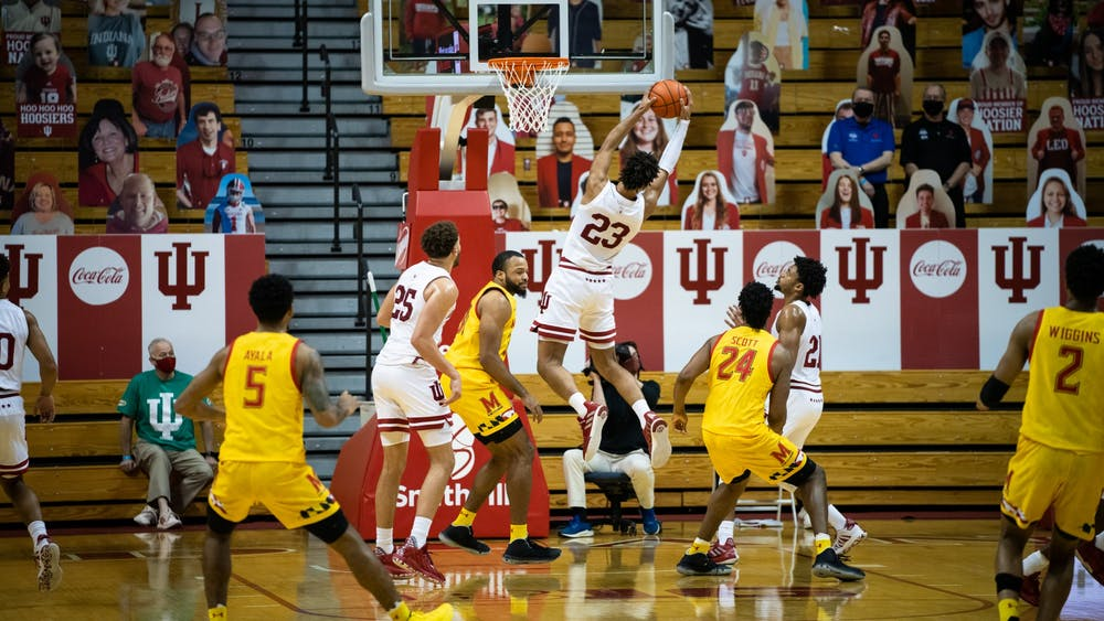 Sophomore forward Trayce Jackson-Davis rebounds the ball Jan. 4 at Simon Skjodt Assembly Hall. The Hoosiers will play Iowa on Jan. 21 at the Carver-Hawkeye Arena in Iowa City, Iowa.