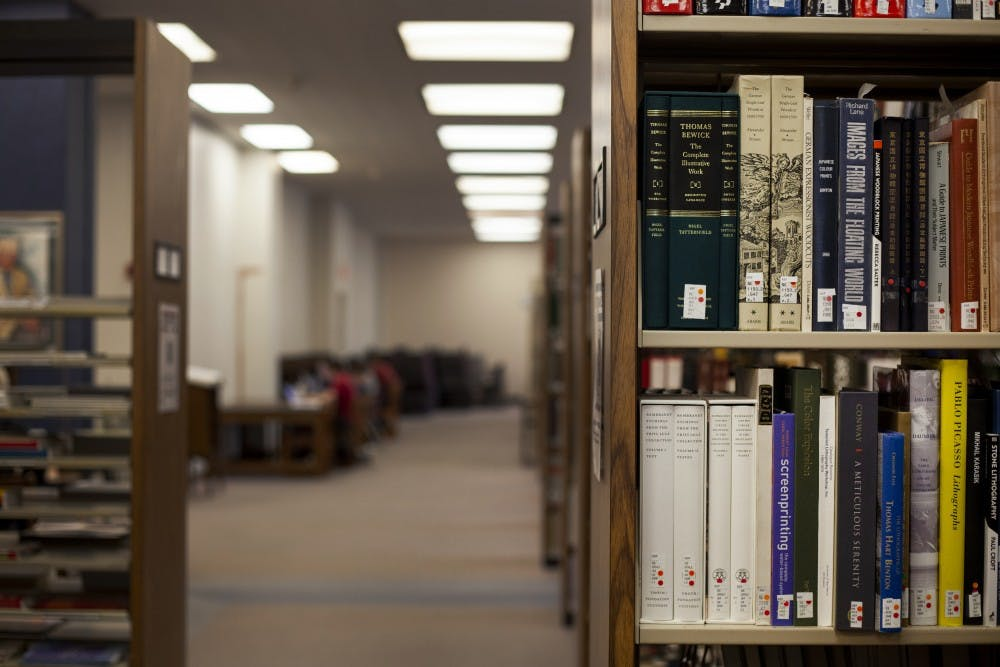 Books sit on a shelf April 22 in the Herman B Wells Library. April 23 is World Book Day.