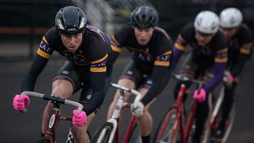 Sigma Alpha Epsilon riders compete during Team Pursuit on Sunday at Bill Armtrong Stadium. Team Pursuit is an event where teams of four ride 15 laps around the track as fast as they can. SAE came in second with a time of 9:32.65.