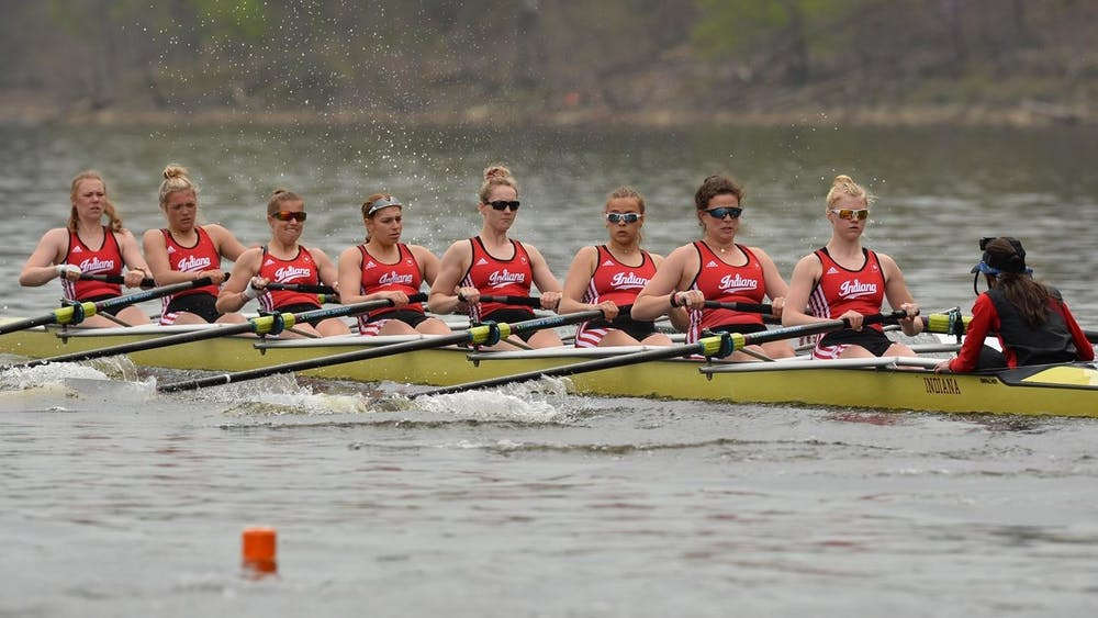 The IU rowing team competes during the Big Ten Invitational on Saturday at Harsha Lake in Bethel, Ohio. The First Varsity 4 placed fourth in the event.