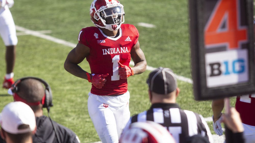 IU senior wide receiver Whop Philyor jogs to the sidelines Nov. 7, 2020, at Memorial Stadium. Philyor declared for the NFL draft on Jan. 9.