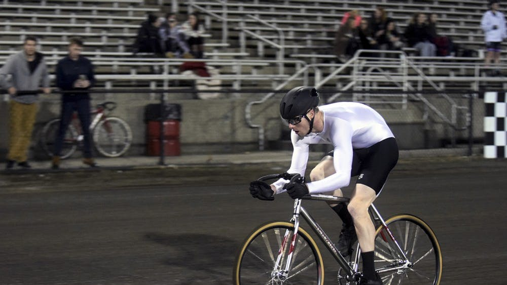 Joe Krahulik of Sigma Alpha Epsilon races during Little 500 Indiviual Time Trials on Wednesday night at Bill Armstrong Stadium. Krahulik finished 2nd overall with a time of 2:21.583.