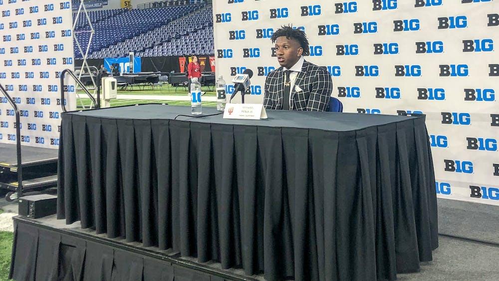 Junior quarterback Michael Penix Jr speaks Friday during Big Ten Media Days in Indianapolis.