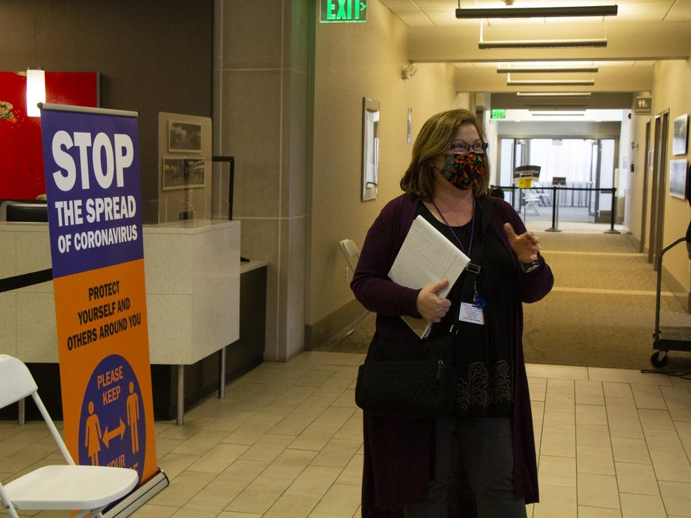 Monroe County Health Department Administrator Penny Caudill leads a media tour of the COVID-19 vaccination clinic Feb. 24 at the Monroe Convention Center.
