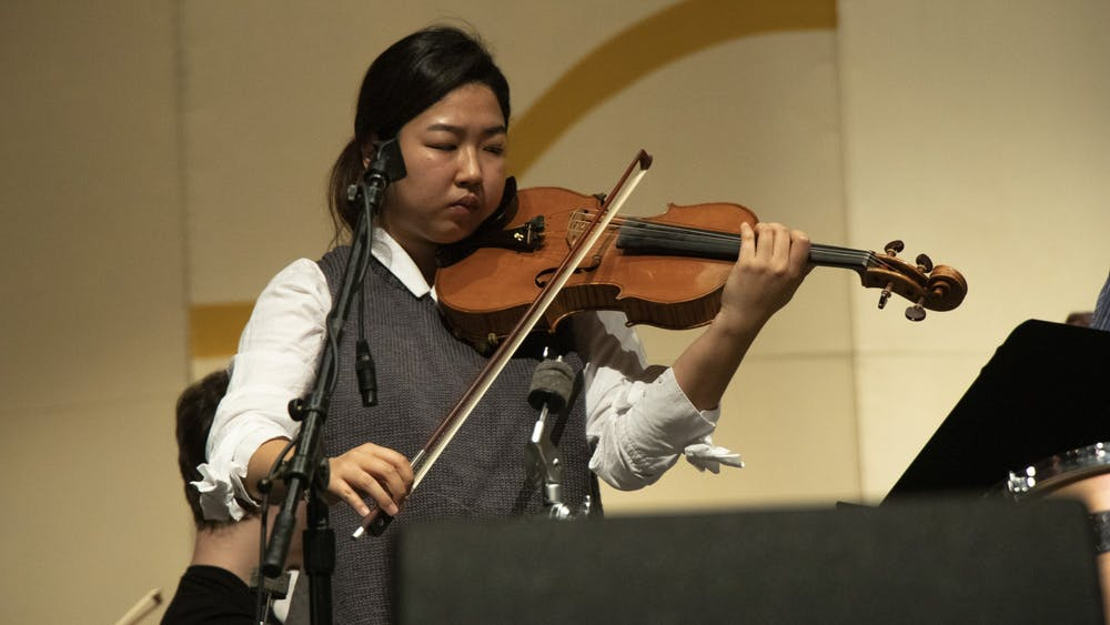 Mary Eunkyung Chang performs a viola concerto with the IU Philharmonic Orchestra during a rehearsal Feb. 10 at the Musical Arts Center. The Philharmonic Orchestra will perform 8 p.m. Wednesday at the Musical Arts Center.