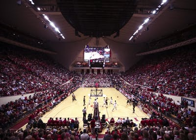IU men's basketball plays the Iowa Hawkeyes in Simon Skjodt Assembly Hall on Dec. 4, 2017.